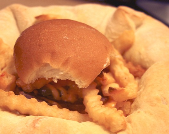 White Castle sliders stuffed crust pizza topped with French fries and a slider. - RFT PHOTO