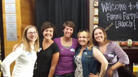 Colleen Kirby, Katie Herrera, Kristen Chalfant, Sarah Scherer and Libby Brown, the founding members of Femme Ferment.   Richard Haegele