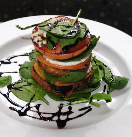 Tomato & eggplant Napoleon at Vin De Set | Tara Mahadevan