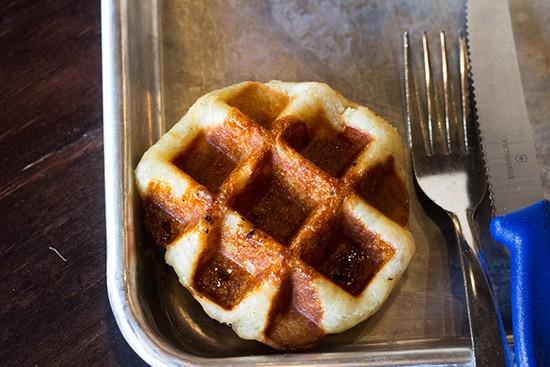 A miniature liege waffle.