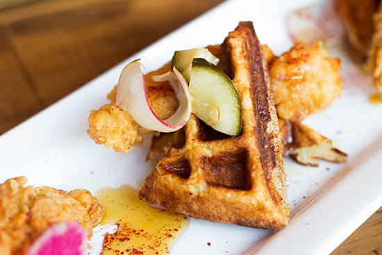 Juniper's chicken and waffles with fish sauce caramel, turmeric pickles and Korean chile flake.   Photos by Mabel Suen
