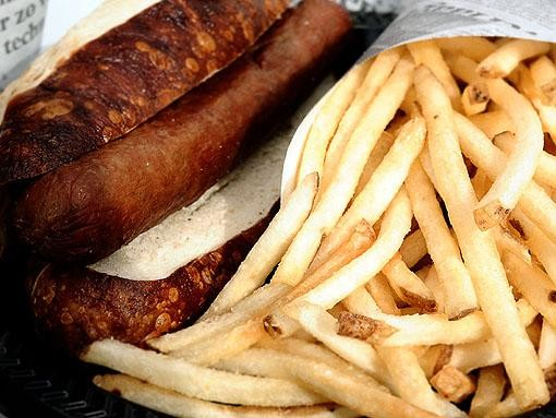 Pretzel dog with fries from the River City Casino in Lemay, opening next year - EGAN O'KEEFE