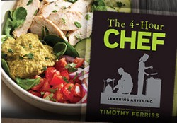 Panera's Power Chicken Hummus Bowl and cookbook The 4-Hour Chef. - IMAGE VIA