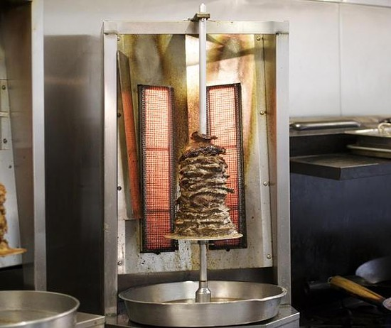 Beef shawarma on the spit at Central Café and Bakery - JENNIFER SILVERBERG