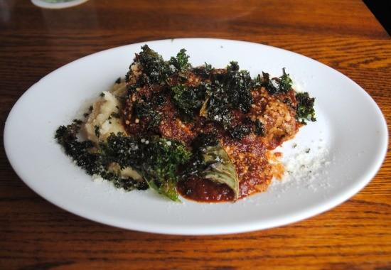 """Big Sky Vegetarian """"Meatloaf,"""" served with mashed potatoes. - JULIA GABBERT"""