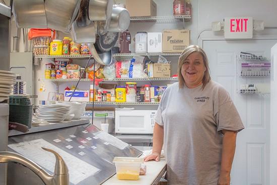 Owner Sue Stewart in the kitchen.