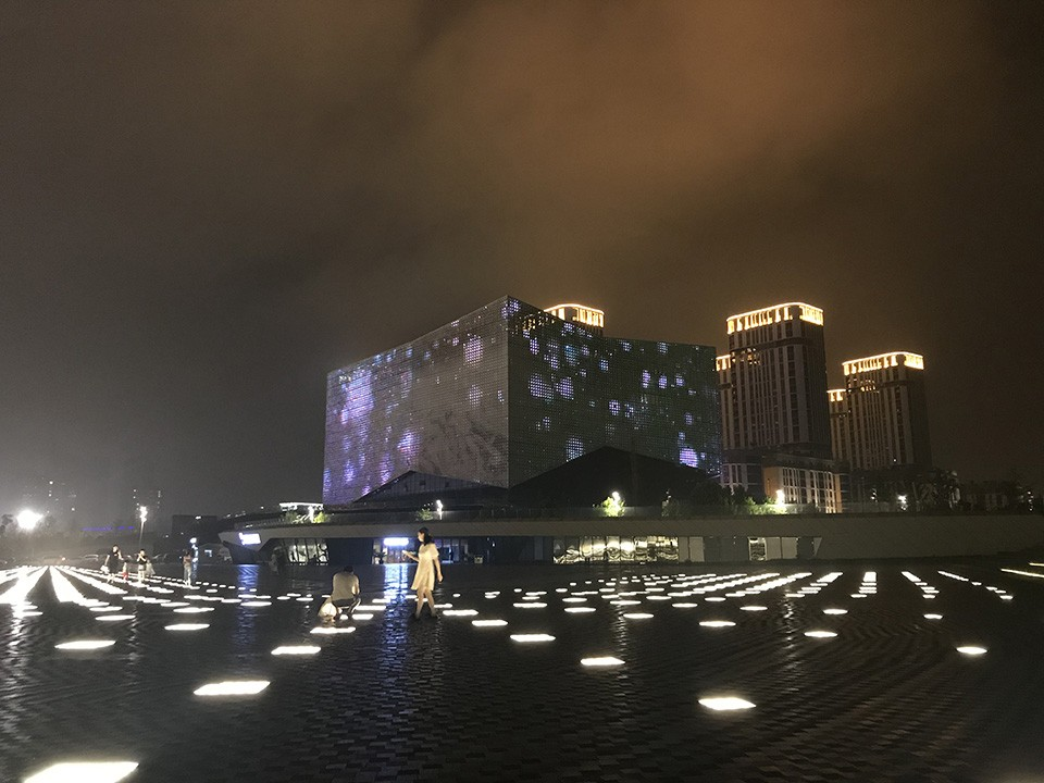 "A plaza in the Nanjing ""New Area"" lit up at night. - RYAN KRULL"