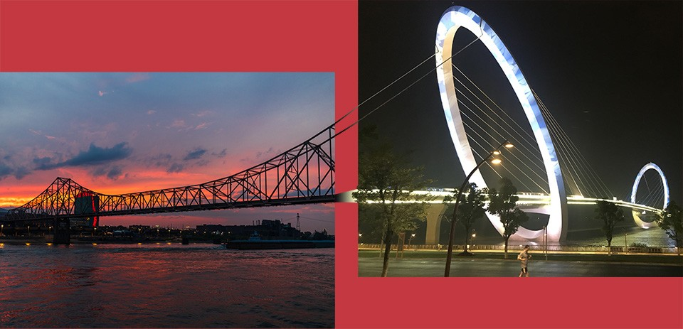 Sister cities St. Louis (left) and Nanjing (right) are both river cities -- one on the Mississippi, one on the Yangtze.