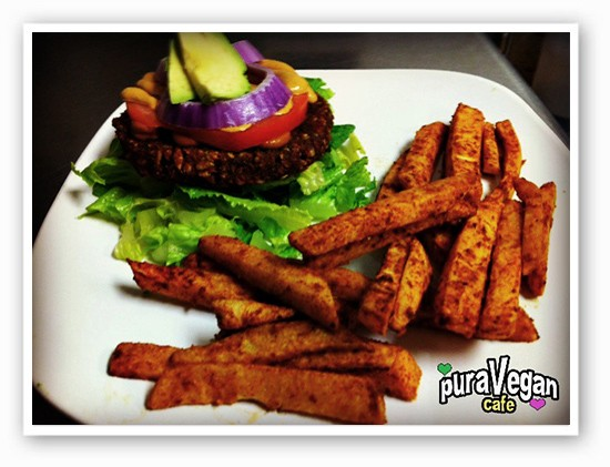 Sprouted sunflower burger with jicama fries | Courtesy of Monica Stoutenborough