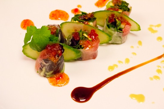 The Chrystal Roll with tuna, yellowtail, cilantro, jalapeno and cucumber rolled in rice paper with eel sauce, sweet chili sauce and avocado sauce. - MABEL SUEN