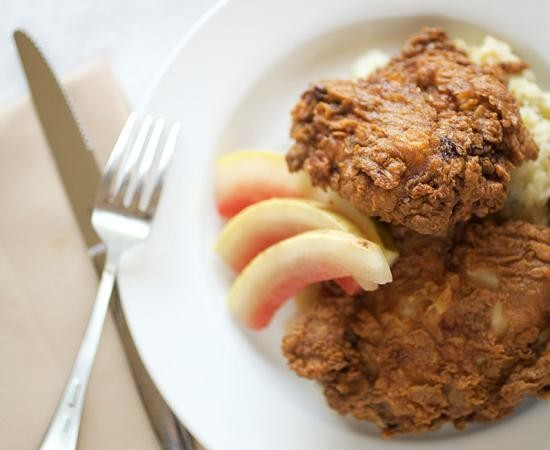Chicken fried in duck fat, with mashed potatoes and pickled watermelon rinds, at Salt - JENNIFER SILVERBERG