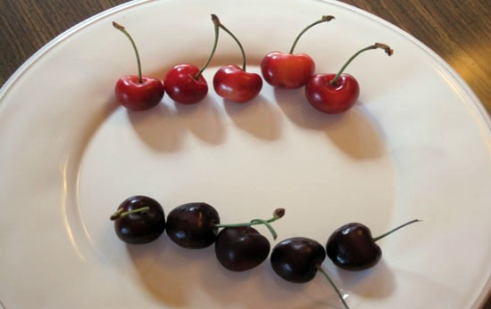 Schnucks cherries at the top, Dierbergs cherries at the bottom. - KRISTIE MCCLANAHAN