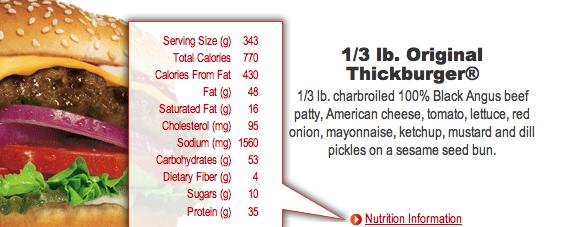 Thickburger: 770 calories