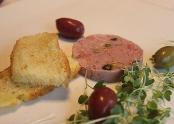 Housemade mortadella with house focaccia and olives. | Nancy Stiles