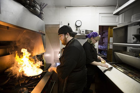 Co-executive chefs Austin Hamblin and Michelle Allender in the Bella Vino kitchen.   Jennifer Silverberg