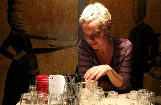 Maggie Ginestra with some remnants from her Fitz's best spirit experiment. Expect to see more tastings along with plenty of art and more at future Mayer's Bakery bar-building events. - MABEL SUEN