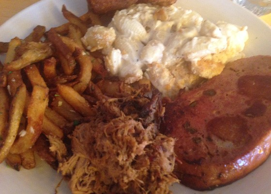 Pulled pork, mac & cheese, bologna and fries. | Nancy Stiles