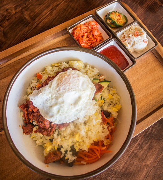 KimCheese's beebimbap with spicy pork. | Photos by Mabel Suen