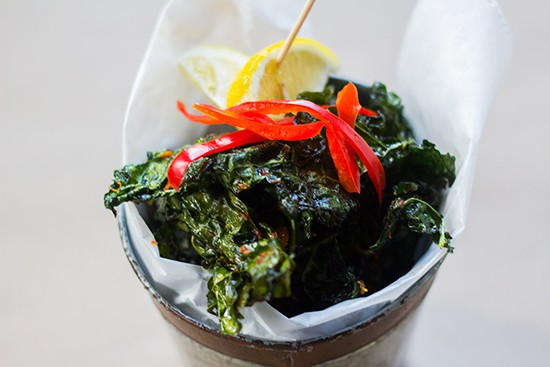 Tuscan kale chips with paprika, cayenne pepper and Parmesan.