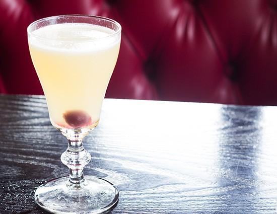 A Hemingway daiquiri with Cana Brava rum, maraschino liquer, grapefruit, lime and dark simple syrup.