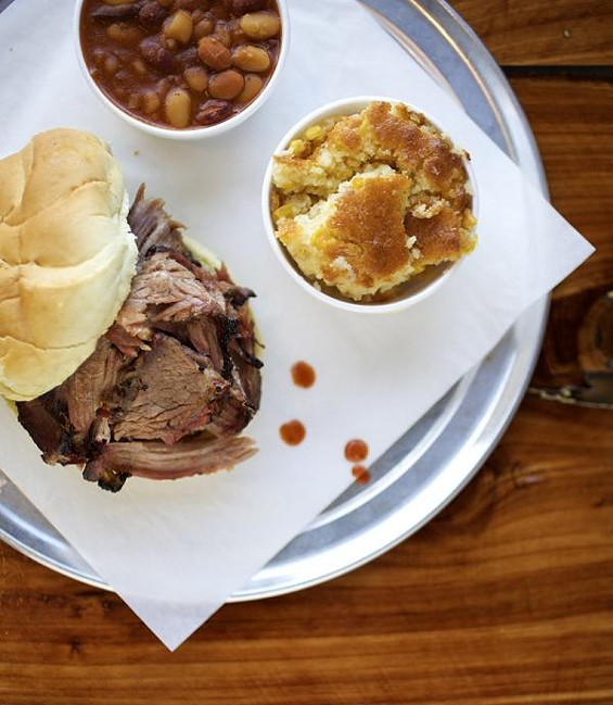 The beef brisket at PM BBQ, with sides. - JENNIFER SILVERBERG