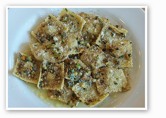Pistachio ravioli at Pastaria.   Tara Mahadevan