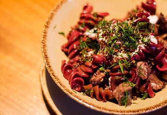 Beet fusilli with sliced steak and horseradish ricotta. | Photos by Mabel Suen