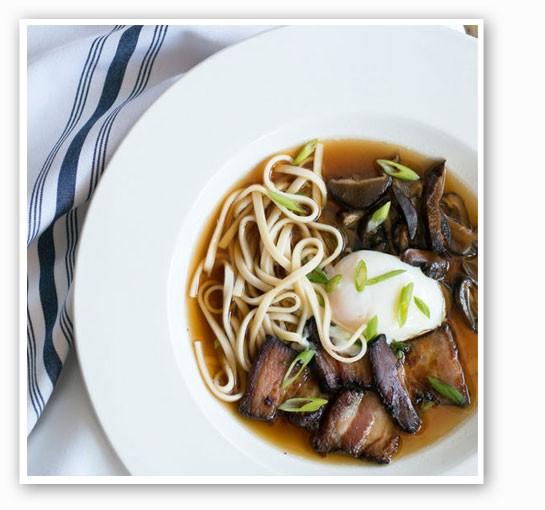 Ramen: soft poached egg, noodles, molasses bacon and pickled shiitakes. | Jennifer Silverberg
