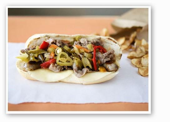 The Big Bend Mafia at Fozzie's: Italian beef, salsiccia, giardiniera and provolone on a garlic hoagie. | Jennifer Silverberg
