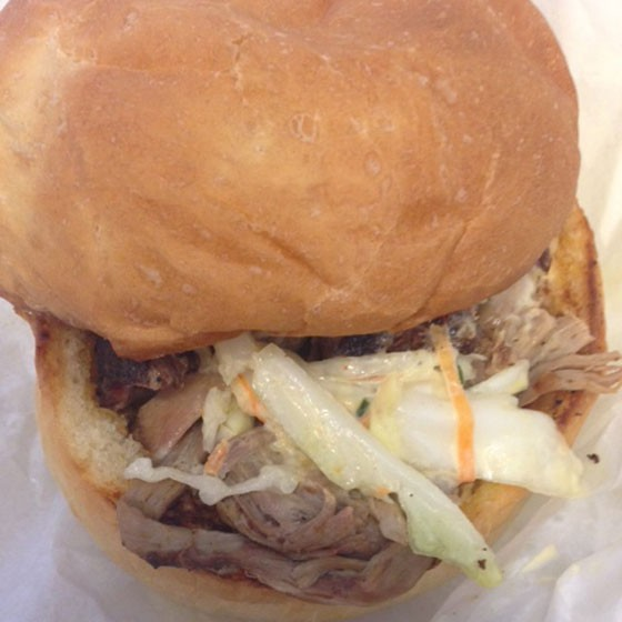 Pulled pork sandwich topped with slaw. | Nancy Stiles