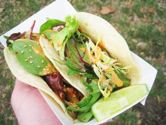 A couple of tacos from the Korean-Mexican mashup truck, Seoul Taco - IAN FROEB
