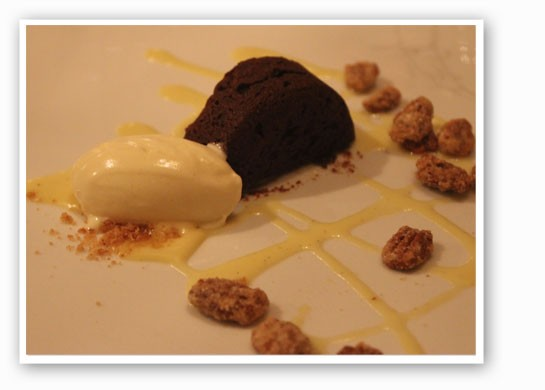 Bouchon au chocolat, banana ice cream, creme anglaise and candied almonds. | Nancy Stiles