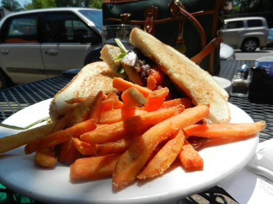 Fresh-cut sweet potato fries and a perfectly toasted sandwich: lunchtime success!