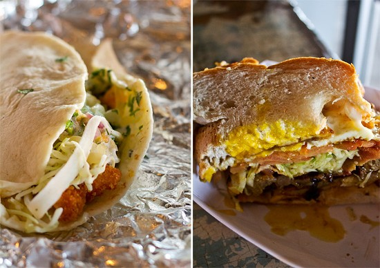 """A baja-fish taco with breaded tilapia, buttermilk dressing and guacamole; half of a """"shack-wich"""" stuffed with steak, bacon and egg. - MABEL SUEN"""