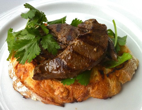 Grilled Beef Heart with Cilantro on Country Bread - HOLLY FANN