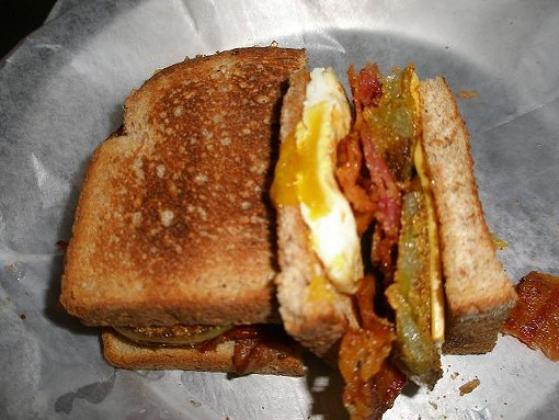 Jerad Gardner's fried green tomato breakfast sandwich. - ROBIN WHEELER