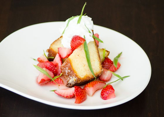 Strawberry trifle with ricotta pound cake, local strawberries and whipped cream.   Bixby's