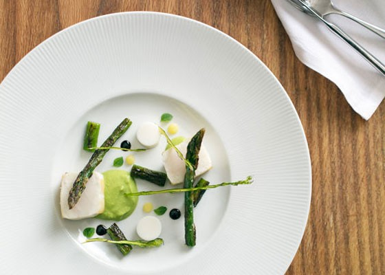 Escolar with asparagus at Niche. | Jennifer Silverberg