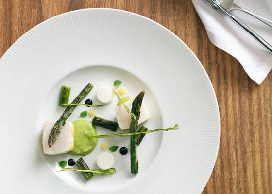 Escolar with asparagus at Niche. | Jennifer Silverberg