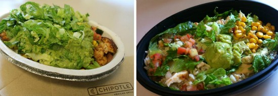 A chicken burrito bowl from Chipotle Mexican Grill (left) and a Cantina Bowl Chicken from Taco Bell (right). - LIZ MILLER