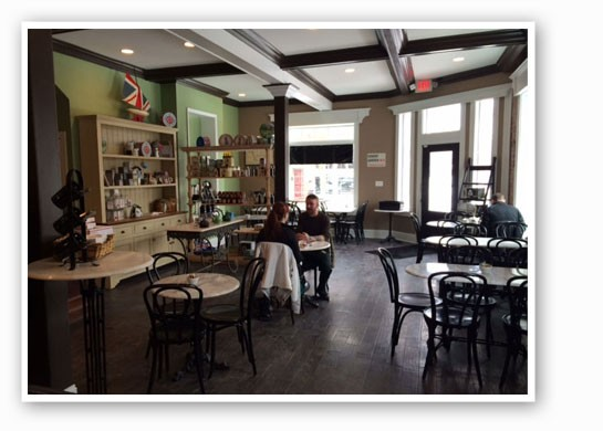 Cafe seating at the new London Tea Room.   Jackie James