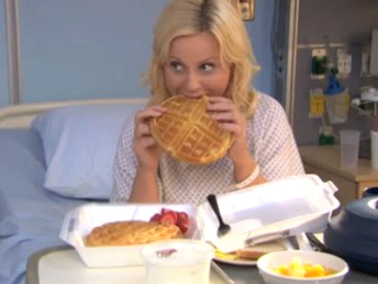 Waffles cure many ills. Just ask Leslie Knope, the smartest woman alive. - IMAGE VIA