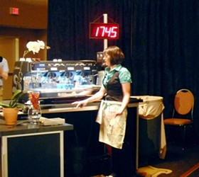Finalist Nicole Call of Kaldi's-De Mun. Call has only been pulling espresso for two years.