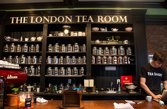 A large selection of loose-leaf teas available for purchase.