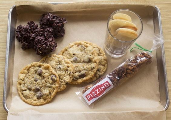 "Desserts at Pizzino include ""Rosa del Deserto,"" ""Vicky's Chocolate-Chip Cookies,"" ""Lingue di Gatto"" and spiced nuts.   Mabel Suen"