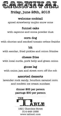 Last weekend's menu.