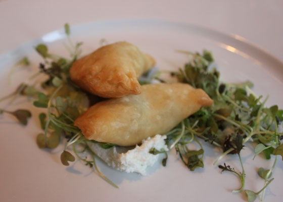 Empanadas with Ozark Forest oyster mushrooms, ramp, Baetje Farms goat cheese and micro greens. | Nancy Stiles
