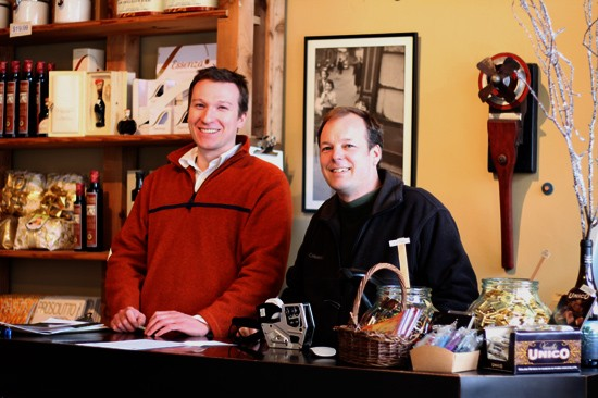 Owner Jonathan Parker (at right) with wine manager Jon Dickinson. - MABEL SUEN