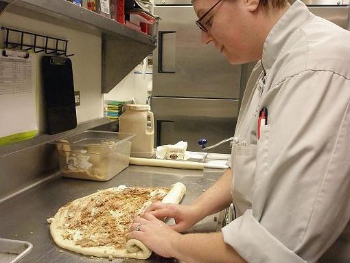 Wapango pastry chef Mary Harden makes her cinnamon rolls. - ROBIN WHEELER