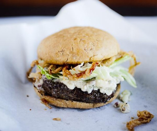 A burger at Dave & Tony's Premium Burger Joint - JENNIFER SILVERBERG